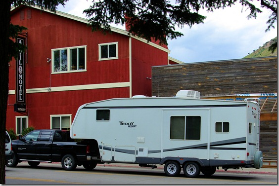 Terry Resort 5th Wheel RV passing through Jackson, Wyoming