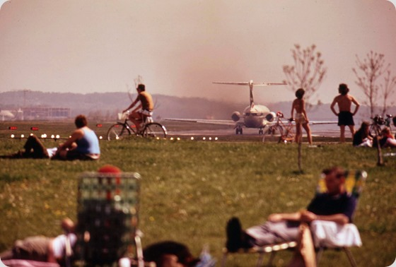 Bicycling And Picnicking Along George Washington Parkway Which Is In The Glide Path To National Airport, April 1973