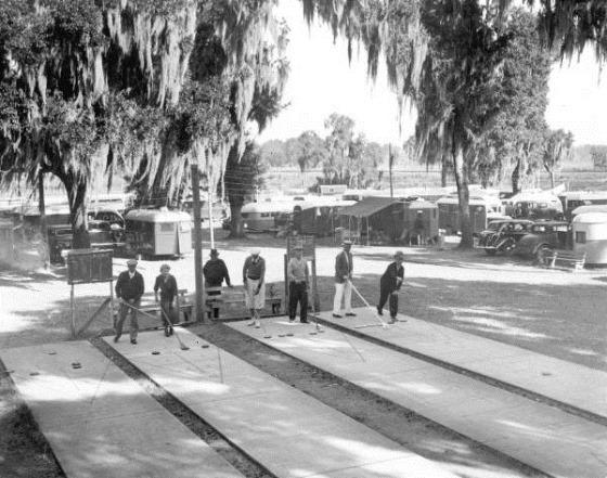 Tin Can Tourists playing shuffleboard - Dade City, Florida; 1936