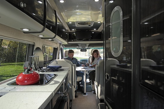 Kitchen and Table in Type B Motorhome